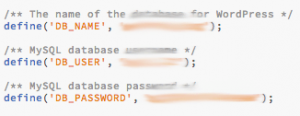 Database Credentials of the wp-config.php file